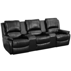 Repose Collection 3-Seat Reclining Pillow Back Black Leather Theater Seating Unit with Cup Holders