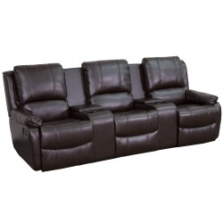 Repose Collection 3-Seat Reclining Pillow Back Brown Leather Theater Seating Unit with Cup Holders