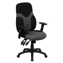 High Back Ergonomic Black and Gray Mesh Task Chair with Adjustable Arms