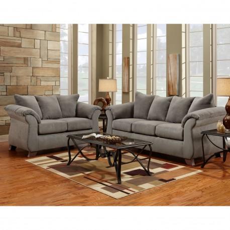 Living Room Set in Sensations Grey Microfiber