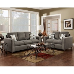 Living Room Set in Vivid Onyx Fabric