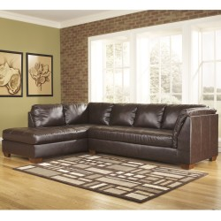 Presidential Sectional with Left Side Facing Chaise in Mahogany DuraBlend Leather