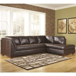 Presidential Sectional with Right Side Facing Chaise in Mahogany DuraBlend Leather