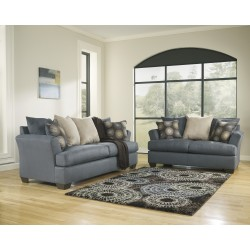 Cindy Living Room Set in Indigo Fabric