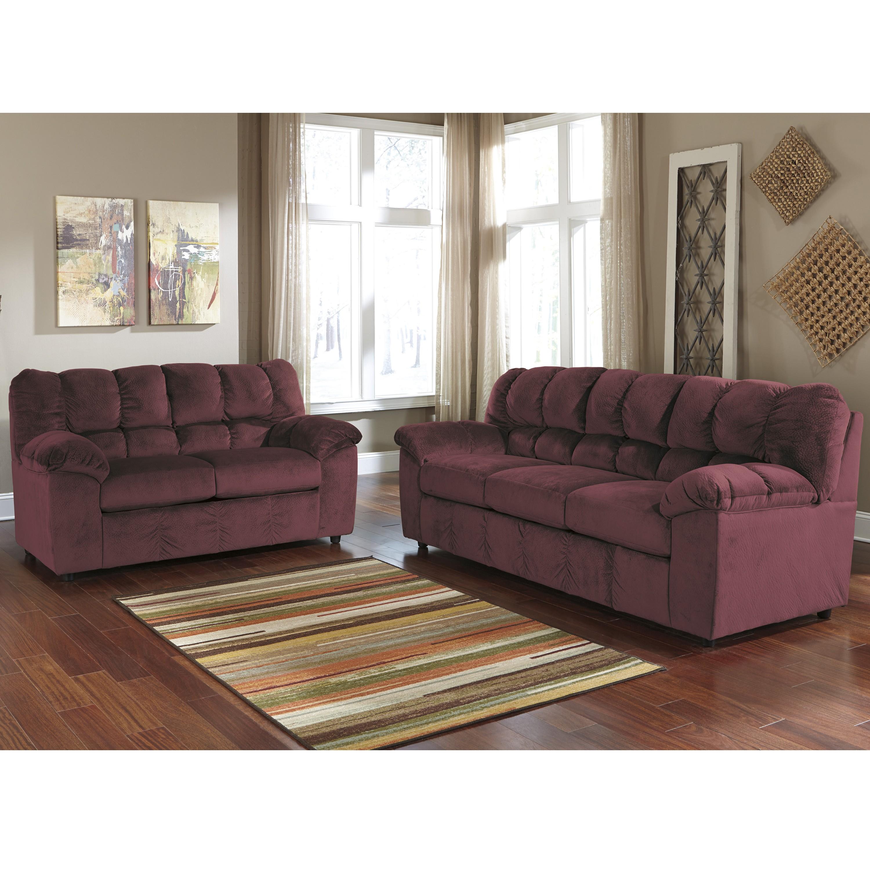 Velvetine Living Room Set in Burgundy Fabric