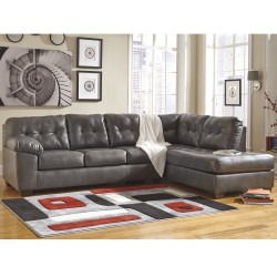 Glamour Sectional with Right Side Facing Chaise in Gray DuraBlend