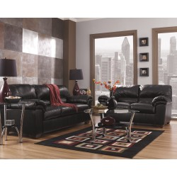 Lisa Living Room Set in Black Leather