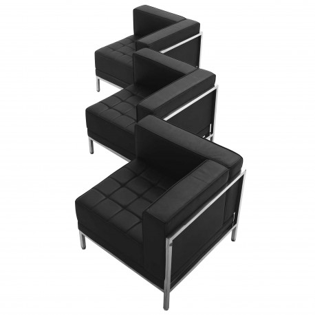 Immaculate Collection Black Leather 3 Piece Corner Chair Set