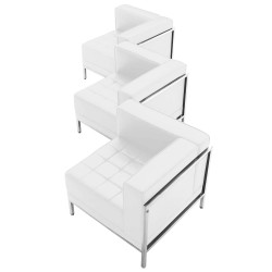 Immaculate Collection White Leather 3 Piece Corner Chair Set