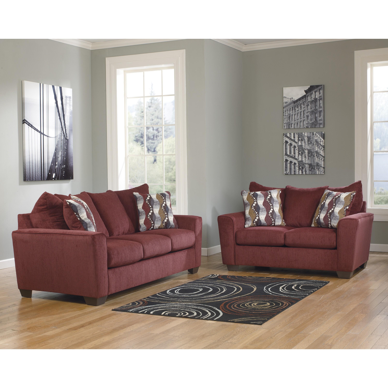Benchcraft Murdock Living Room Set in Burgundy Chenille