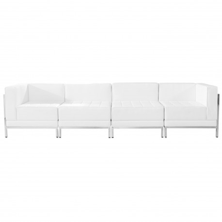 Immaculate Collection White Leather 4 Piece Lounge Set