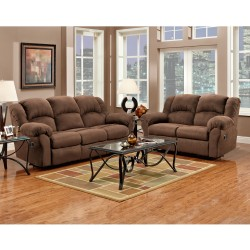 Reclining Living Room Set in Aruba Chocolate Microfiber