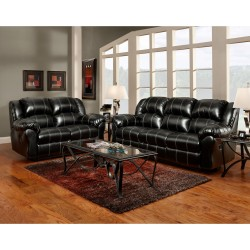 Reclining Living Room Set in Taos Black Leather