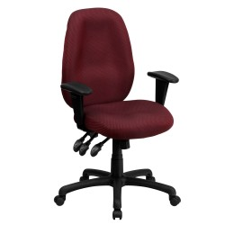 High Back Burgundy Fabric Multi-Functional Ergonomic Task Chair with Arms