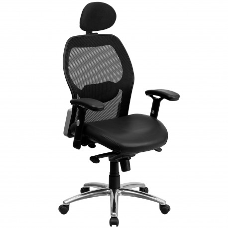 High Back Super Mesh Office Chair with Black Leather Seat and Knee Tilt Control