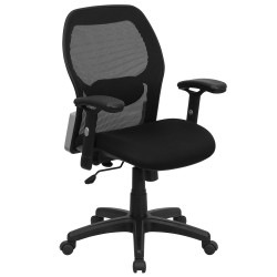 Mid-Back Super Mesh Office Chair with Black Fabric Seat