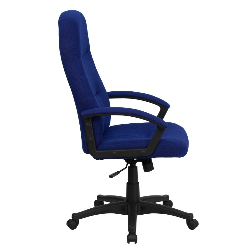 High Back Navy Blue Fabric Executive Swivel Office Chair