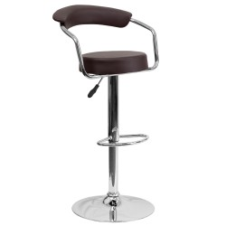 Contemporary Brown Vinyl Adjustable Height Bar Stool with Arms and Chrome Base