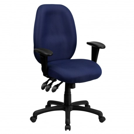High Back Navy Fabric Multi-Functional Ergonomic Task Chair with Arms