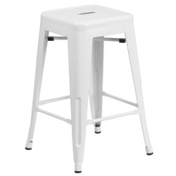 24'' Backless White Metal Counter Height Stool