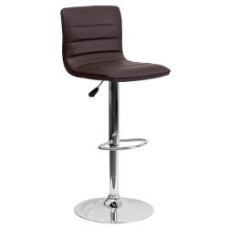 Contemporary Brown Vinyl Adjustable Height Bar Stool with Chrome Base