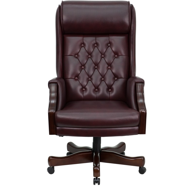 Back Traditional Tufted Burgundy Leather Executive Office Chair