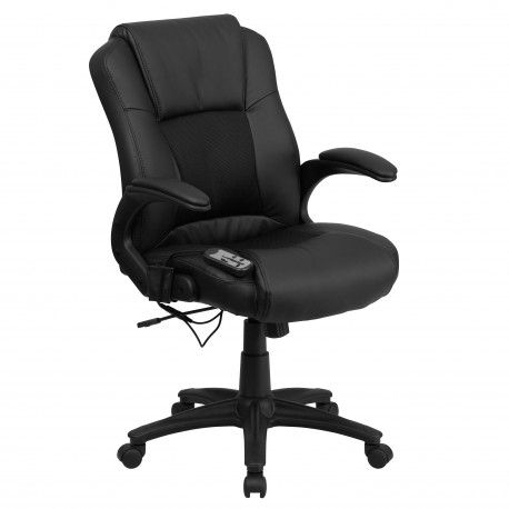 Massaging Black Leather Executive Office Chair