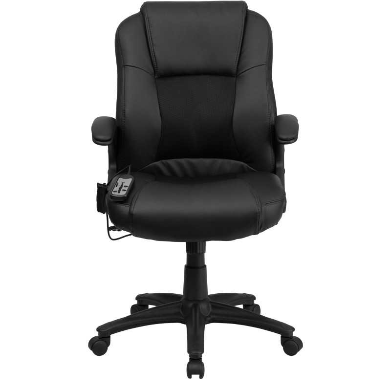 massaging black leather executive office chair. Black Bedroom Furniture Sets. Home Design Ideas