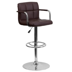 Contemporary Brown Quilted Vinyl Adjustable Height Bar Stool with Arms and Chrome Base
