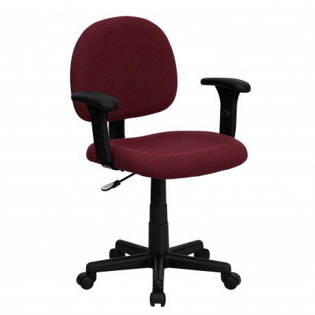Mid-Back Ergonomic Burgundy Fabric Task Chair with Adjustable Arms