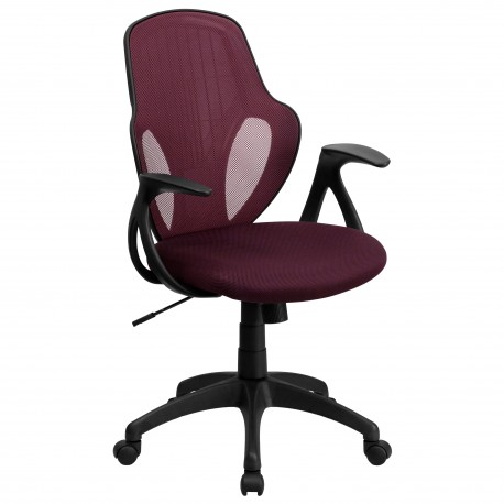 Mid-Back Executive Burgundy Mesh Chair with Nylon Base