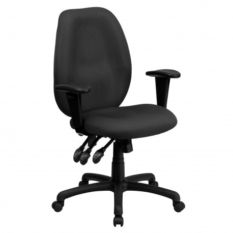 High Back Gray Fabric Multi-Functional Ergonomic Task Chair with Arms