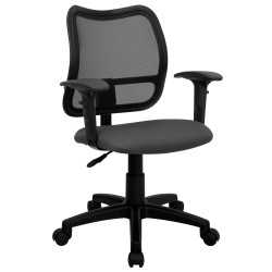 Mid-Back Mesh Task Chair with Gray Fabric Seat and Arms