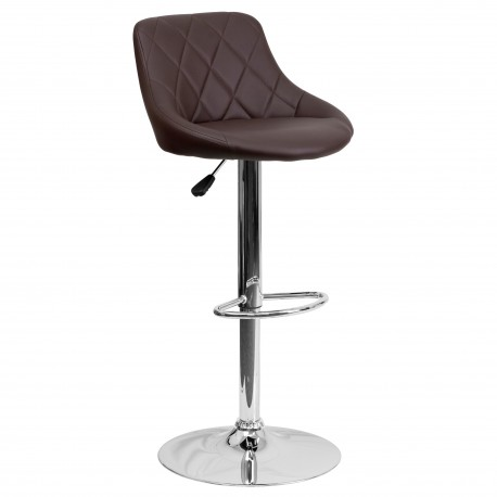 Contemporary Brown Vinyl Bucket Seat Adjustable Height Bar Stool with Chrome Base
