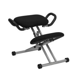 Ergonomic Kneeling Chair in Black Fabric with Handles