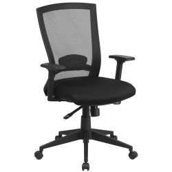 Mid-Back Black Mesh Chair with Back Angle Adjustment