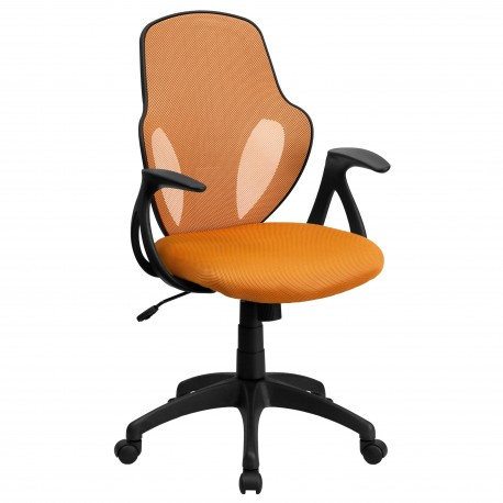 Mid-Back Executive Orange Mesh Chair with Nylon Base
