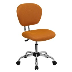 Mid-Back Orange Mesh Task Chair with Chrome Base