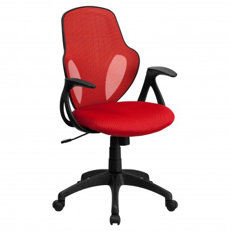 Mid-Back Executive Red Mesh Chair with Nylon Base