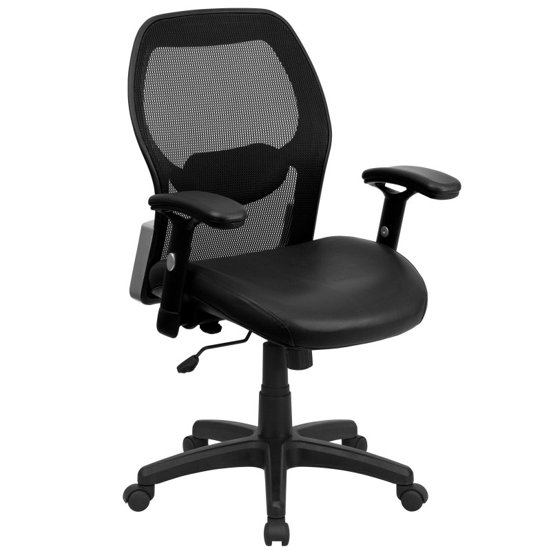 Mid-Back Super Mesh Office Chair with Black Leather Seat ...  sc 1 st  My Friendly Office & Mid|Back Super Mesh Office Chair with Black Leather Seat
