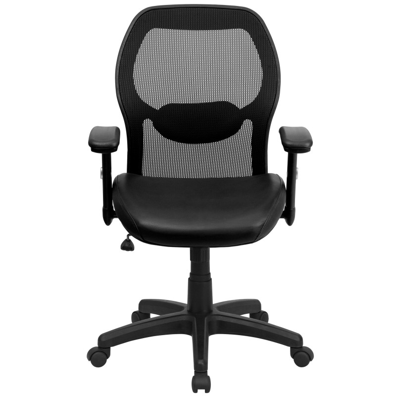 midback super mesh office chair with black leather seat