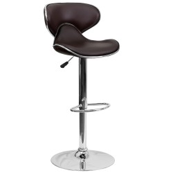 Contemporary Cozy Mid-Back Brown Vinyl Adjustable Height Bar Stool with Chrome Base