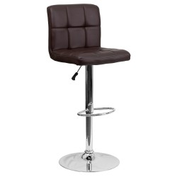 Contemporary Brown Quilted Vinyl Adjustable Height Bar Stool with Chrome Base
