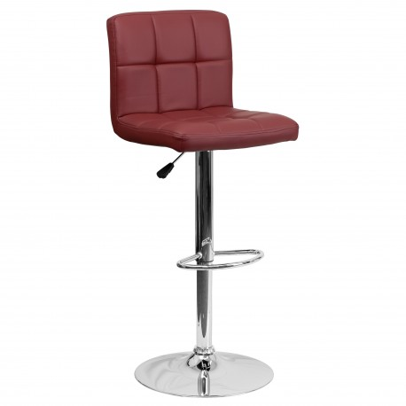 Contemporary Burgundy Quilted Vinyl Adjustable Height Bar Stool with Chrome Base