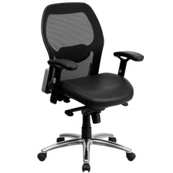 Mid-Back Super Mesh Office Chair with Black Leather Seat and Knee Tilt Control