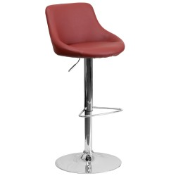 Contemporary Burgundy Vinyl Bucket Seat Adjustable Height Bar Stool with Chrome Base