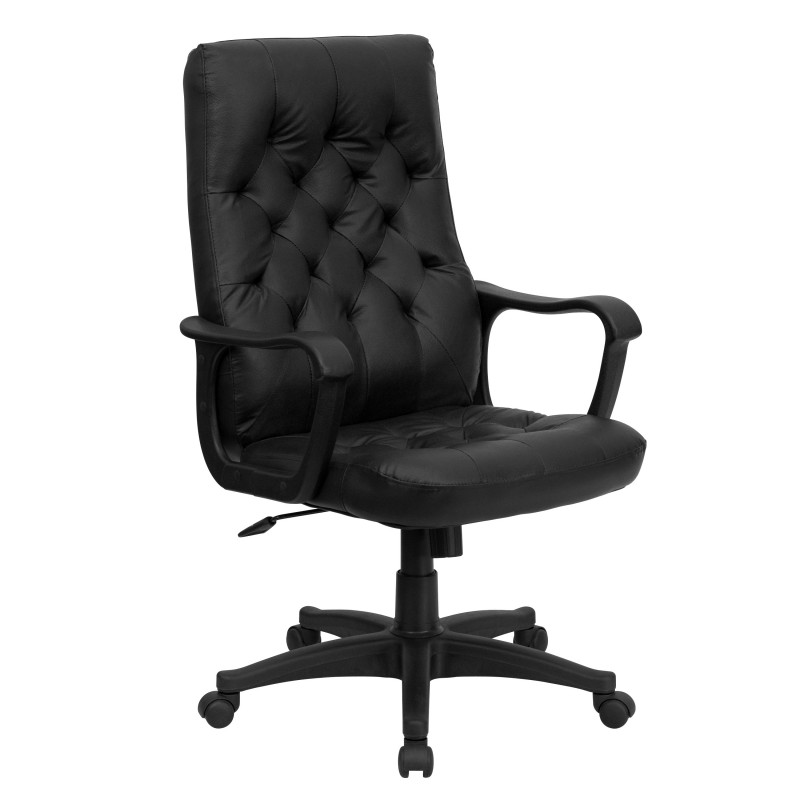 high back traditional black leather executive swivel office chair