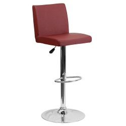 Contemporary Burgundy Vinyl Adjustable Height Bar Stool with Chrome Base