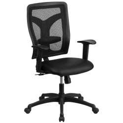 Galaxy High Back Designer Back Task Chair with Adjustable Height Arms and Padded Leather Seat