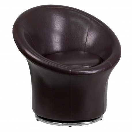 Brown Leather Swivel Reception Chair